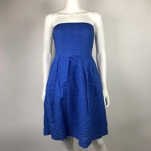 J Crew Blue Textured Strapless Cute Party Dress